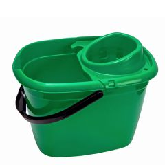 Green Mop Bucket with Wringer 14Ltr
