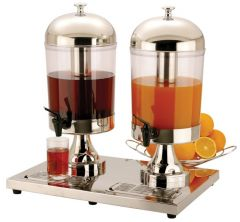 Twin Juice Dispenser Stainless Steel / Polycarbonate 2x 14.4 Pint /  2x 8Ltr