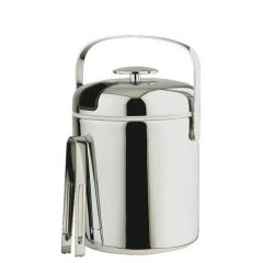 """Stainless Steel Ice Bucket with Tongs 1.3Ltr, 5.5"""" / 14cm"""
