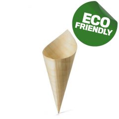 Mini Disposable Wooden Bamboo Serving Cone 4.5x12.7cm