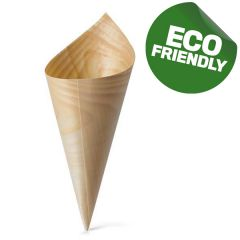 Small Disposable Wooden Bamboo Serving Cone 5x15cm
