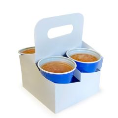 White 4 Cup Carry Tray with Handle