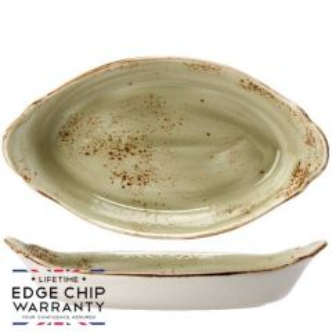 "Steelite Craft Green Oval Eared Dish 13.5x7.5"" / 34x19cm"