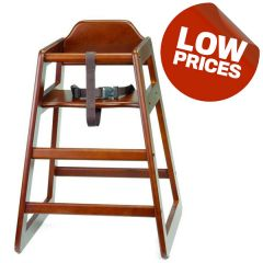 Wooden High Chair Stackable Walnut Coloured (Supplied Unassembled)