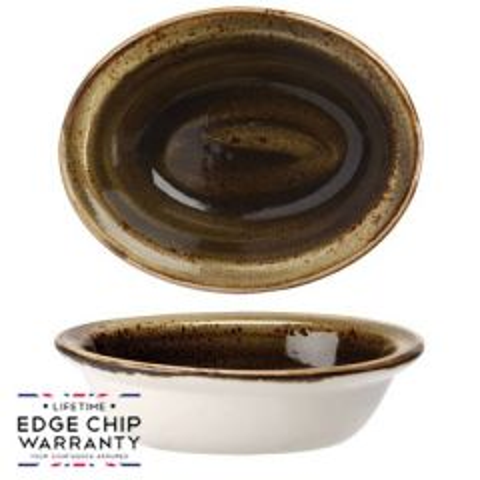 "Steelite Craft Brown Oval Baker Lipped 6.25"" / 15.75cm"
