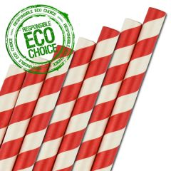 """Red & White Striped Paper Smoothie Straw 8mm Bore 9"""" / 23cm"""