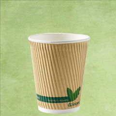 Compostable PLA Lined Kraft Ripple Hot Cup 12oz / 34cl