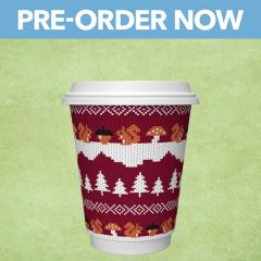 Vegware Christmas Red Squirrel Jumper Double Wall Hot Cup 8oz / 22cl