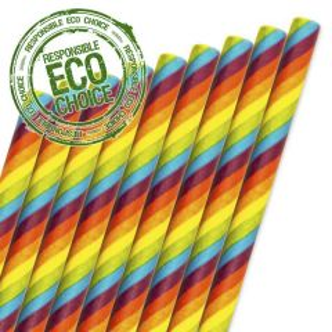 "Rainbow Stripe Paper Straw 6mm Bore 8"" / 20cm"
