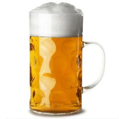 Polystyrene Handled Panelled Beer Stein 2 Pint / 40oz CE to Line