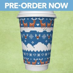 Vegware Christmas Blue Stag Jumper Double Wall PLA Coffee Cup 16oz / 45cl