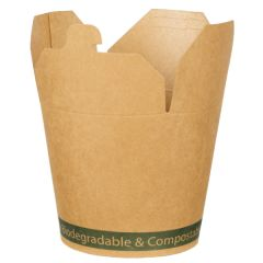 Kraft PLA Lined Compostable Round Food Pail 750ml