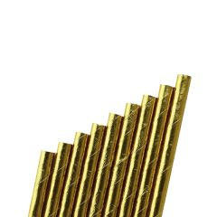 """Gold Paper Sip Straw Bore 6mm 5.5"""" / 14cm"""