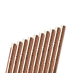 """Rose Gold Paper Sip Straw Bore 6mm 5.5"""" / 14cm"""