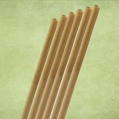 """Natural Reed Bamboo Straw 6-8mm Bore 10"""" / 25cm with 2 Brushes"""