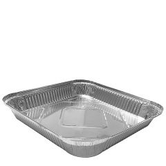 """Aluminium Foil Shallow Square 9x9"""" Takeaway Container 1600ml, 240x240x35mm"""