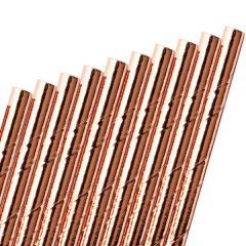 "Rose Gold / Copper Paper Straw 6mm Bore 8"" / 20cm"