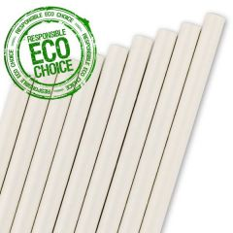 """White Paper Straw 6mm Bore 8"""" / 20cm"""