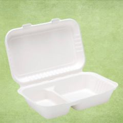 """Bagasse Eco-Friendly 2 Compartment Lunch Box 10x6.5x2.5"""" / 16.5x25x6cm"""