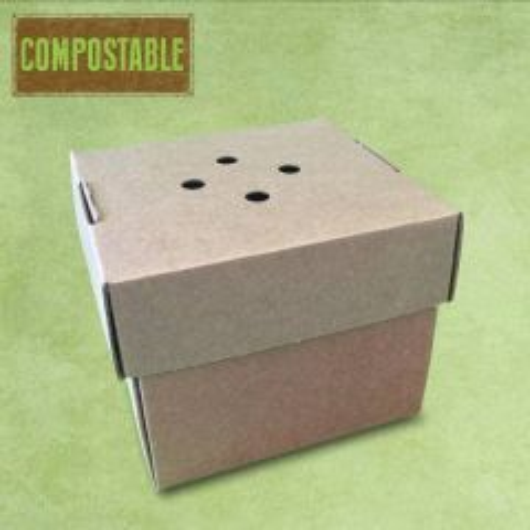 "Corrugated Compostable Premium Burger Box 4.75x4.75x4 "" / 12.2x12.2x10.2cm"