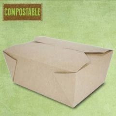 Compostable Kraft No.4 Leakproof Food Carton XL 2801ml, 19.5x14x9cm