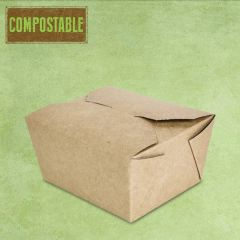 Compostable Kraft No.1 Leakproof Food Carton 755ml, 11x9x6.5cm