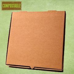 """Compostable Plain Brown Cardboard Pizza Delivery Box 12"""" / 30cm"""