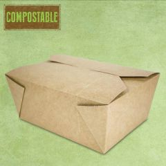 Compostable Kraft No.3 Leakproof Food Carton 1965ml, 19.2x14x6.5cm