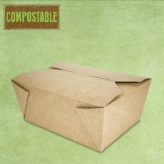 Compostable Kraft No.8 Leakproof Food Carton 1324ml, 15.2x12x6.4cm