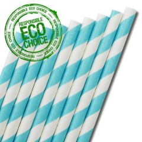 "Light Blue & White Stripe Paper Straw 6mm Bore 8"" / 20cm"
