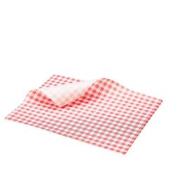 """Red Gingham Printed Greaseproof Paper 10x8"""" / 25x20cm"""
