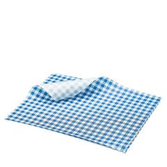 """Blue Gingham Printed Greaseproof Paper 10x8"""" / 25x20cm"""