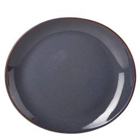 "Blue Terra Stoneware Oval Plate 11.5x10.25"" / 29.5x26cm"