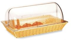 """1/1 Gastronorm Poly-Rattan Basket  with Clear Roll Top Lid 21x13"""" / 53x32.5cm"""