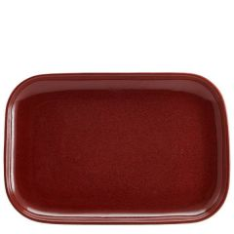 "Red Terra Stoneware Rectangular Plate 13.5x9.25"" / 34.5x23.5cm"