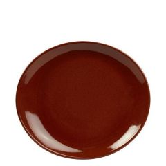 "Red Terra Stoneware Oval Plate 8.25x7.5"" / 21x19cm"