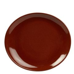 "Red Terra Stoneware Oval Plate 9.75x8.5"" / 25x22cm"