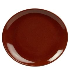 "Red Terra Stoneware Oval Plate 11.5x10.25"" / 29.5x26cm"