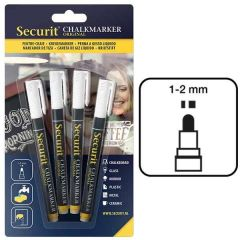 Securit Set of 4 White Water Soluble Chalk Markers 1-2mm Fine Nib