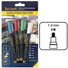 Securit Set of 4 Mixed Colour Water Soluble Chalk Markers 1-2mm Fine Nib
