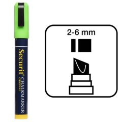 Securit Green Water Soluble Chalk Marker 2-6mm Nib