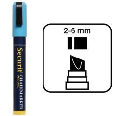 Securit Blue Water Soluble Chalk Marker 2-6mm Nib