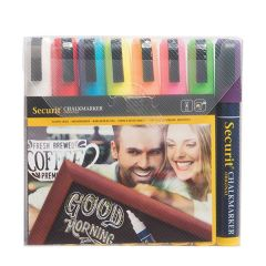Securit Set of 8 Mixed Colours Water Soluble Chalk Markers 2-6mm Nib