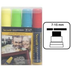 Securit Large Set of 4 Mixed Colours Water Soluble Chalk Markers 7-15mm Nib