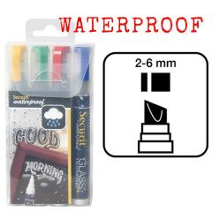 Securit Set of 4 Mixed Colours Waterproof Chalk Markers 2-6mm Nib