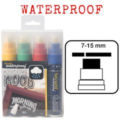 Securit Set of 4 Mixed Colours Large Waterproof Chalk Markers 7-15mm Nib