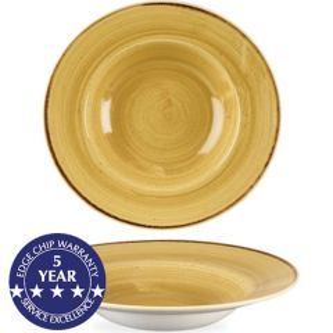 "Churchill Stonecast Mustard Seed Yellow Profile Wide Rim Bowl 11"" / 28cm"