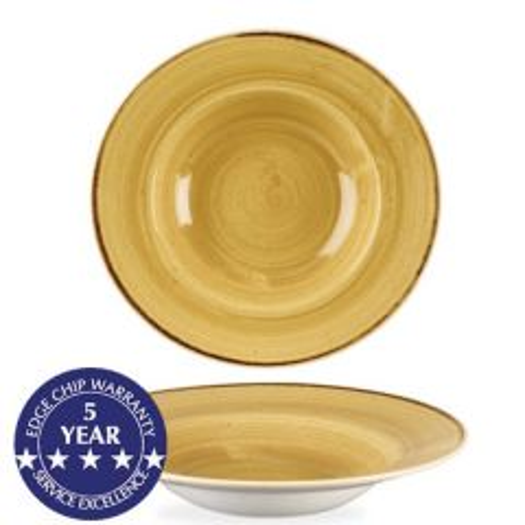 "Churchill Stonecast Mustard Seed Yellow Profile Wide Rim Bowl 9.5"" / 24cm"