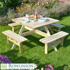 Square Natural Timber Picnic Table to Seat Eight 1980x1980x750mm