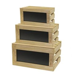 Set of Three Natural Wood Crate with Chalk Board